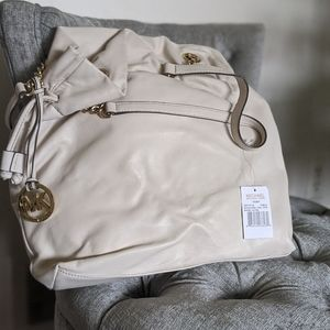 Michael Kors cream leather tote